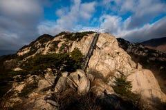 Felsige Bergspitze mit Stahlleiter Lizenzfreies Stockbild