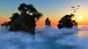 Felsige Inseln des Sonnenuntergangs oder des Sonnenaufgangs Lizenzfreie Stockfotografie