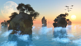 Felsige kleine Inseln des Sonnenaufgangs oder des Sonnenuntergangs Stockfotos