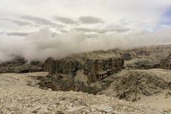 Felsige Landschaft im Sella-Gebirgsmassiv dolomites Italien stockfoto