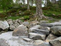 Felsige Schritte nahe einem norwegischen Fjord Lizenzfreies Stockfoto