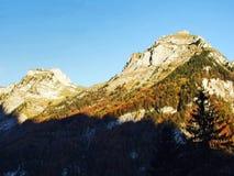 Felsige Spitze Dejenstogg oder Dejenstock im Glarus-Alpengebirgszug stockfoto