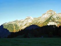 Felsige Spitze Dejenstogg oder Dejenstock im Glarus-Alpengebirgszug stockbild