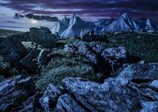 Felsige Spitzen und Felsen auf Abhang in Tatras nachts Stockfotos