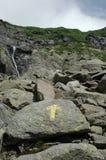Felsige Spur mit gelbem Pfeil Stockfoto