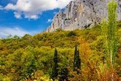 Felsiger Berg im Herbst stockbild