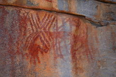 Felsmalereien und Höhlenmalerei im Caatinga von Brasilien Stockfotografie