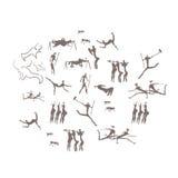 Felsritzungen, Petroglyphen, Leute, Aushöhlungen Lizenzfreies Stockfoto