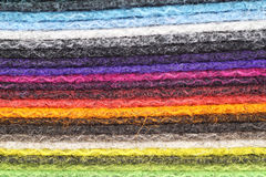Felt. A pile of multicolored sheets of felt stock image