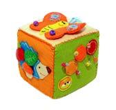 Felt activity developing cube, baby soft sensory toy. Isolated on white background royalty free stock photo