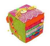 Felt activity developing cube, baby soft sensory toy. Isolated on white background Royalty Free Stock Photos