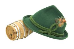 Felt Alpine hat and Oak barrel Royalty Free Stock Image