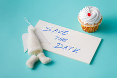 Felt angel with message save the date Royalty Free Stock Photos