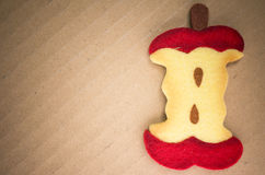 Felt apple core Stock Photography