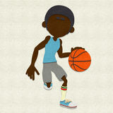 Felt Basketball Player Dribbling Royalty Free Stock Images
