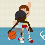 Felt Basketball Players Competing On Court Stock Images