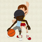 Felt Basketball Players Competing Royalty Free Stock Image