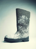 Felt boot with snow Stock Photos