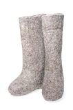 Felt boots gray on white background Royalty Free Stock Image