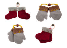Felt boots and mittens Stock Image