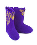 Felt boots with ornament Royalty Free Stock Image
