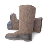 Felt boots with rubber soles Royalty Free Stock Image