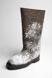 Felt boots with snow Royalty Free Stock Images