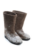 Felt boots with snow Stock Image