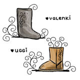 Felt boots and uggi, sketch for your design Royalty Free Stock Images