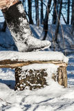 Felt boots (valenki) in snow. Royalty Free Stock Images