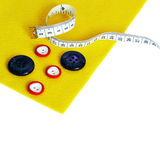 Felt, buttons,measurement on  white background Royalty Free Stock Image