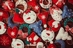 Felt Christmas decorations stock images