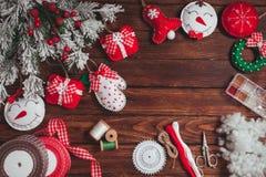Felt Christmas decorations Royalty Free Stock Images