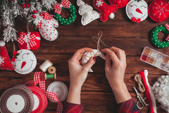 Felt Christmas decorations Stock Photos