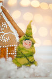 Felt christmas tree. And gingerbread house Royalty Free Stock Image