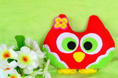 Felt colorful owl toy. Child's funny toy royalty free stock photos