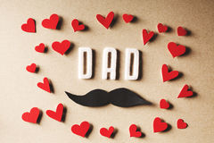 Felt Dad text with mustache Royalty Free Stock Image
