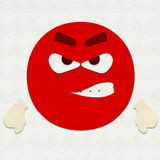 Felt Emoticon Angry. Felt illustration of an emoticon angry Royalty Free Stock Image