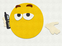 Felt Emoticon Cell Phone Royalty Free Stock Images