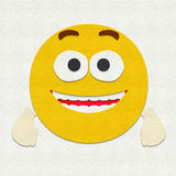 Felt Emoticon Excited. Felt illustration of an emoticon feeling excited Stock Photo