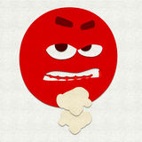 Felt Emoticon Fighting. Felt illustration of an emoticon ready to fight Royalty Free Stock Photography