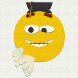 Felt Emoticon Graduation Royalty Free Stock Photography