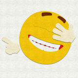 Felt Emoticon Laughing. Felt illustration of an emoticon laughing Royalty Free Stock Photography