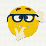 Felt Emoticon Nerd Royalty Free Stock Photo