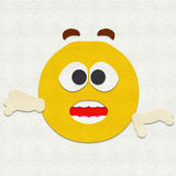Felt Emoticon Surprised. Felt illustration of an emoticon surprised Royalty Free Stock Photos