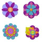 Felt Flower Set. Cute and colorful felt flower set Royalty Free Illustration