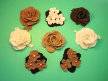 Felt flowers Stock Image
