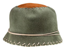 Felt green soft cloche hat. Isolated on white background Royalty Free Stock Photography