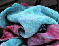 Felt. Hand made felt fabric, hand dyed from raw sheep wool Royalty Free Stock Image