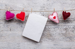 Felt handmade hearts Stock Photo